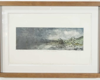 Original Art Framed Landscape Etching, Small Color Drypoint, Mezzotint Intaglio Print, Algonquin Park Thunderstorm over Lake, Todd Tremeer.