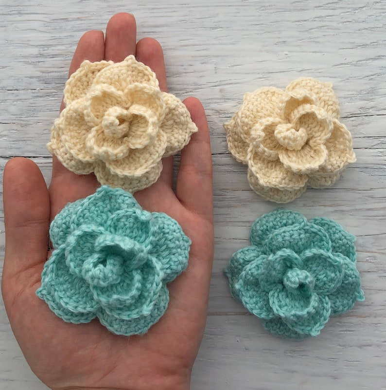Set crochet wool flowers for hair Set wool flowers for scrap Crochet flowers applique for brooch Handmade flowers for hats Knitted flowers