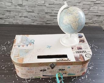 Urn suitcase for wedding, birthday, retirement ... travel theme, suitcase, plane, world, vintage, world tour, road trip ...