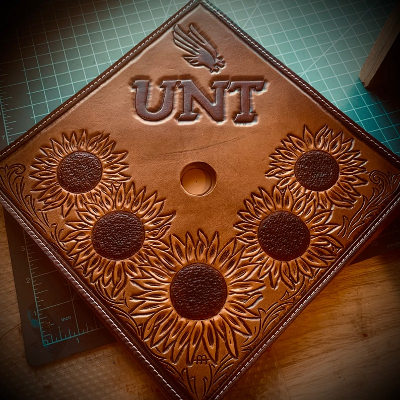 custom carved leather mortarboard cover GRAD CAP