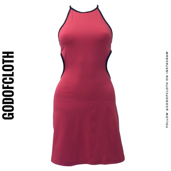 Versace Red Halter Top Dress