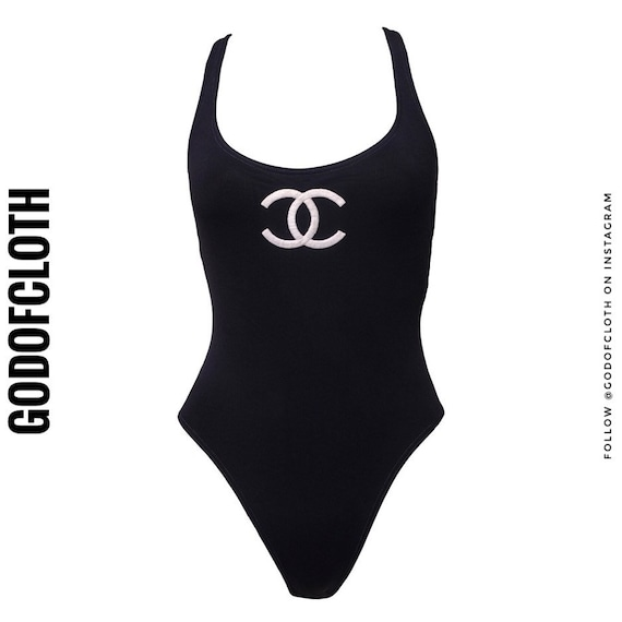 Chanel Black CC Logo One-Piece Swimsuit