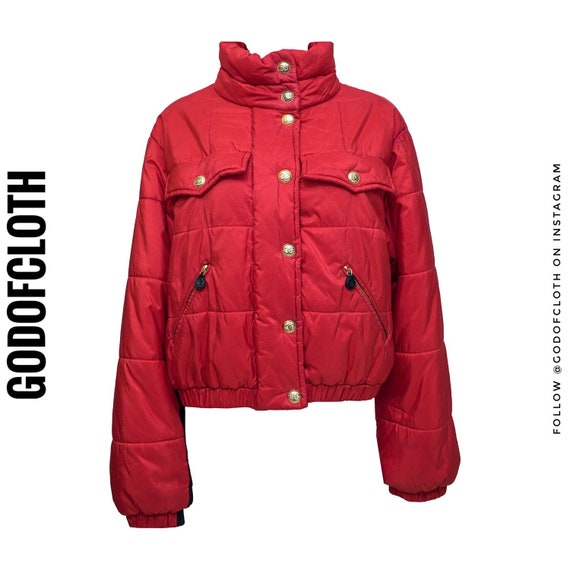 Chanel Red Cropped Puffer Jacket