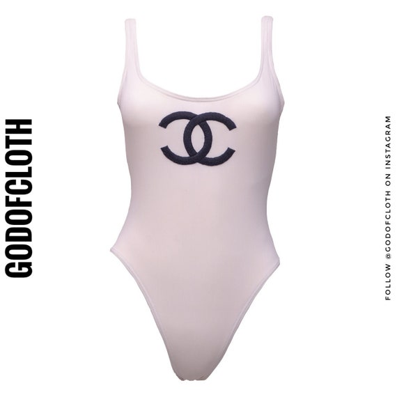 Chanel White CC Logo One-Piece Swimsuit