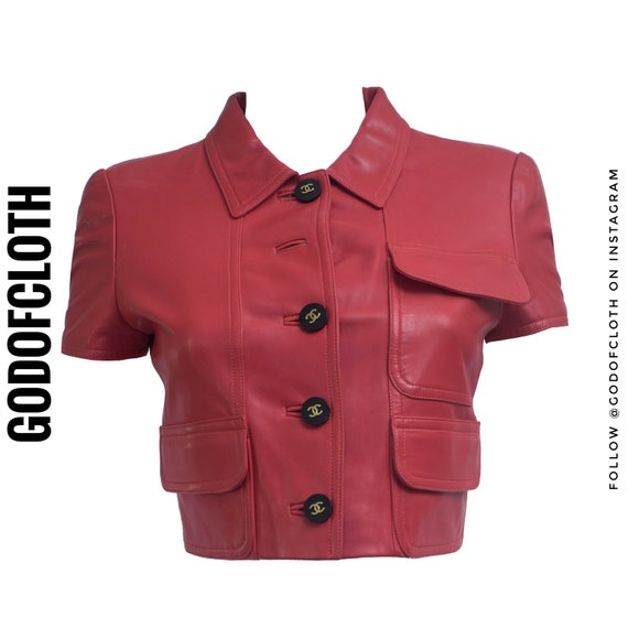 Chanel Red Leather CC Logo Button Crop Jacket