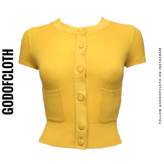 Chanel Yellow Logo Cardigan Short Sleeved Crop Top