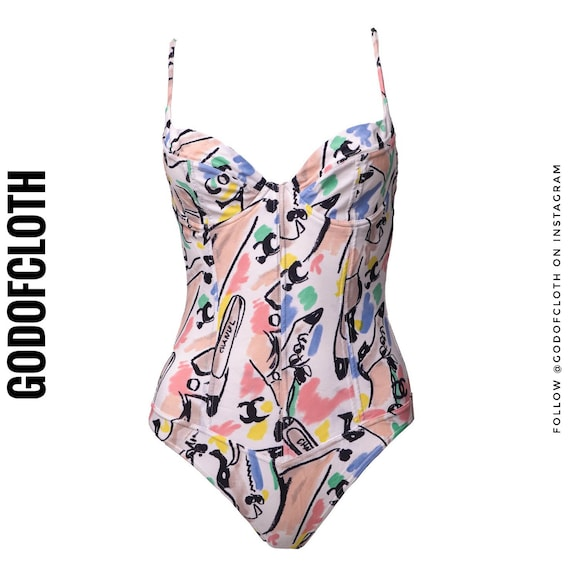 Chanel Bustier Shoe Print One-Piece Swimsuit