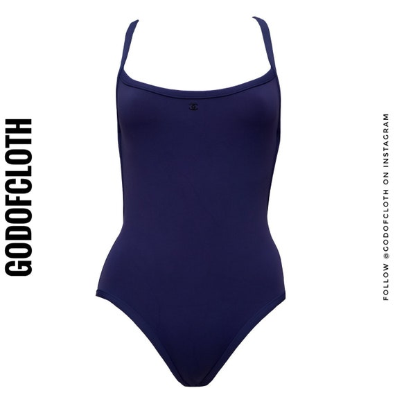 Chanel Navy CC Logo One-Piece Swimsuit