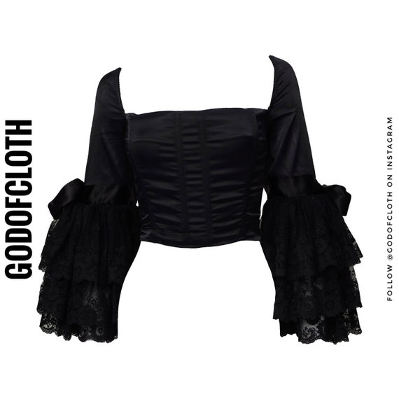 Dolce and Gabbana Black Victorian Sleeve Corset To