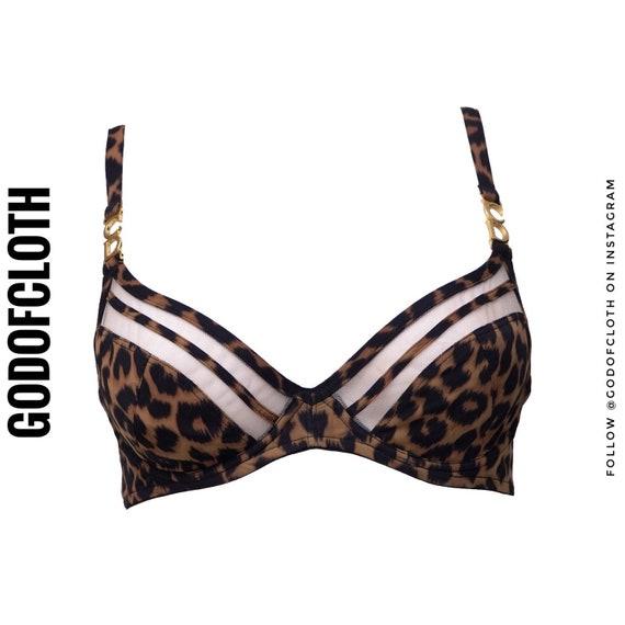 Christian Dior Leopard Print CD Logo Bra