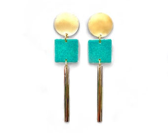 Earrings dying mosaics and gold with fine gold  Turquoise blue style.