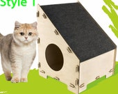 Modern cat house with plywood, Wooden Pet house, Cat scratching post, House with Cat Scratching Post, Modules for a cat house