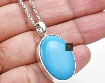 Sleeping Beauty Turquoise /& Blue Topaz 925 Silver Pendant Jewelry Blue Woman Gift Daughter Wife Mom Pendant Mothers Day Gift 6828