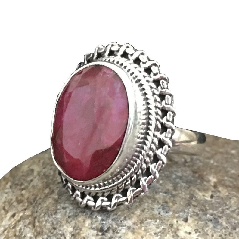 DISCOUNT SALE Natural Ruby Ring-July Birthstone Ring-Gemstone Ring-Vintage Ring-925 Sterling Silver Ring-Fine Ring-Wedding-Engagement Ring