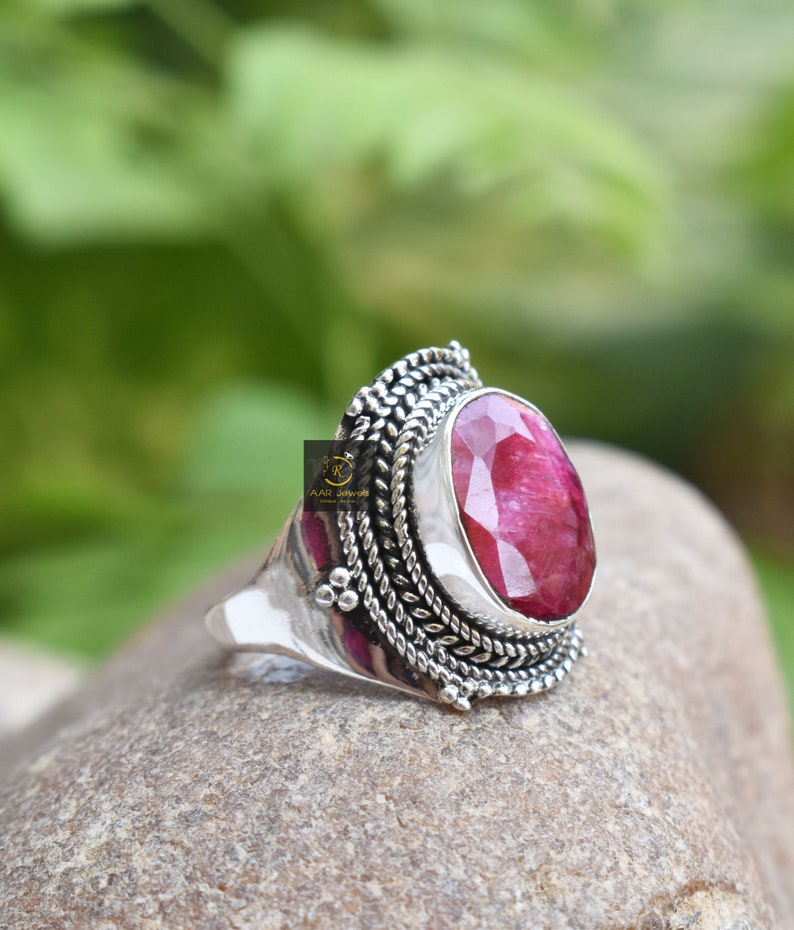 Handcrafted Boho Ring Oval Gemstone 925 Solid Statement Ring Women/'s Ring Statement Jewelry Sterling Silver Red Ruby