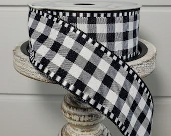 RG8168X6-2.5x10YD Mini Check WSatin-BlackWhite,Black White Check ribbon,Wreath Supplies,Craft Supplies