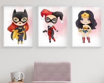Batman art print Harley Quinn print Superhero wall art Harley Quinn poster 3592 Superhero poster Kids Decor print Batman wall poster