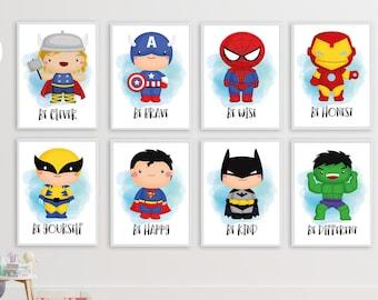 prints Thor nursery marvel superhero Thor superhero personalised decor nursery boy room Superhero nursery prints prints boy superhero