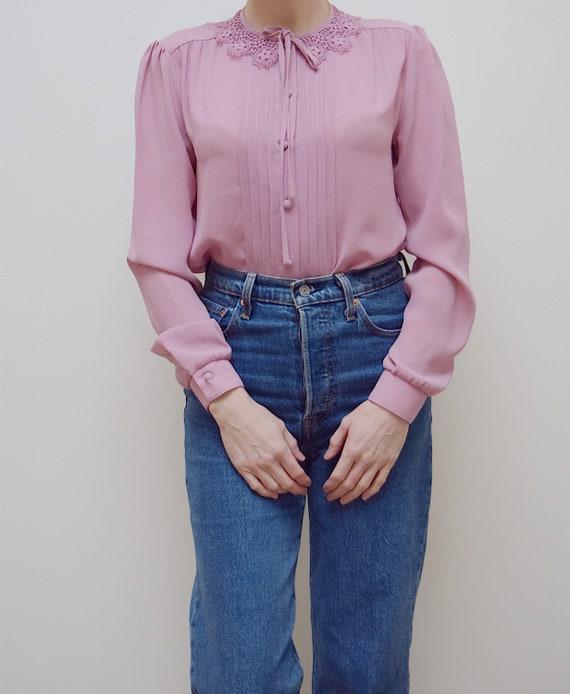 Vintage pink statement collar blouse UK 10-12