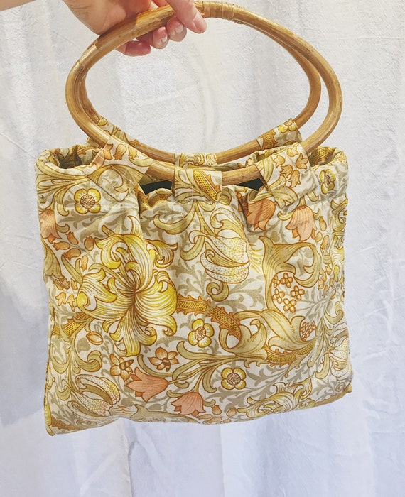 Vintage bamboo handle bag with William Morris prin