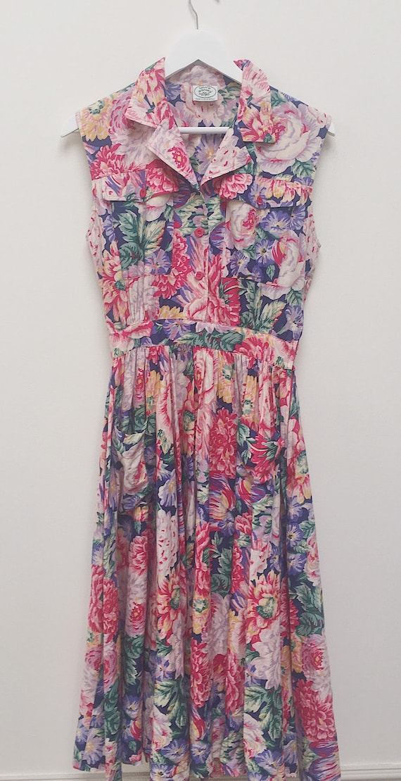 Vintage Laura Ashley sleeveless floral dress