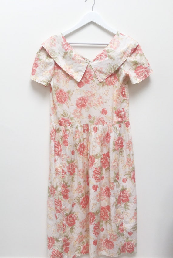 Vintage Laura Ashley boat neck floral midi dress