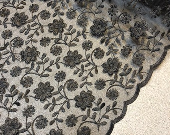 """1 Meter Black Embroidered double Scalloped Bridal lace Fabric 52"""" wide"""