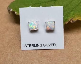 Simple Post Earrings Q925 5mm Square Dark Blue Opal Stud Earrings Boho Earrings Sterling Silver Opal Jewelry Dark Blue Opal Post