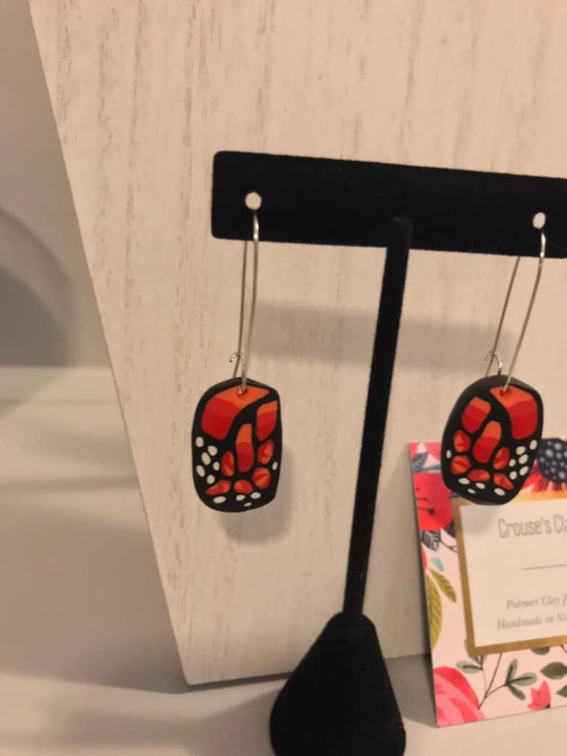 Unique polymer clay butterfly earrings