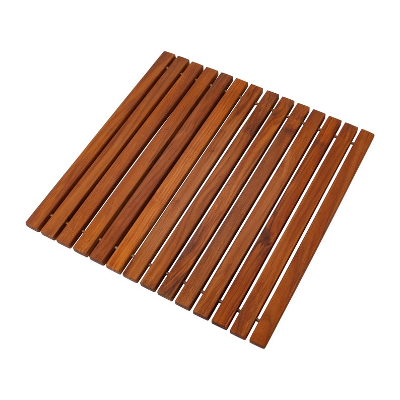 Nordic Style Teak String ShowerBathSpa Mat 19.6\u2033 x 19.6\u2033