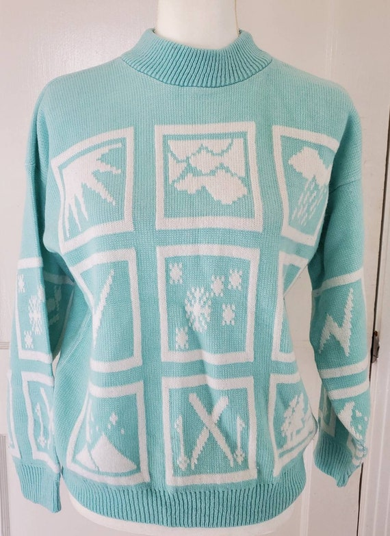 Vintage Adele Knitwear Weather Sweater Light BLUE