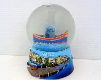 Gubbio Collectible rare snowdome souvenirs with golden high base Old plastic snow-globe