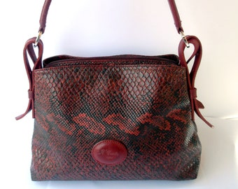 """Italy vintage handbag burgundy and black colors marked A Conte, leather stamped"""" Python"""""""