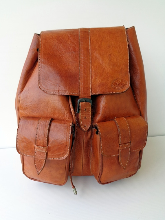 Vintage Italy handcrafted backpack in Camel color