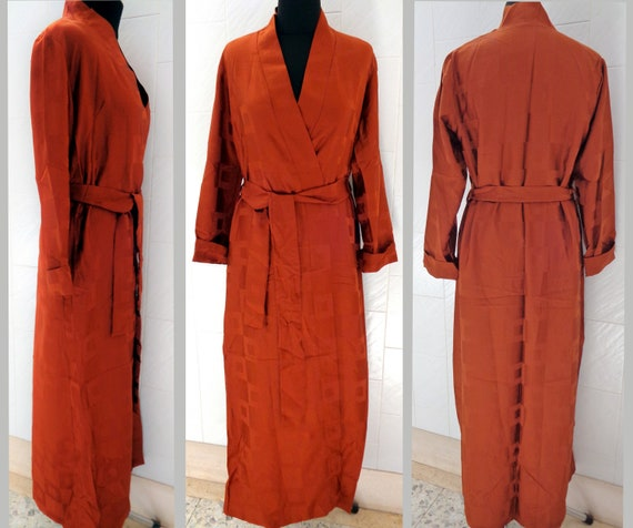 Vintage 80s men's chocolate color silky satin dres