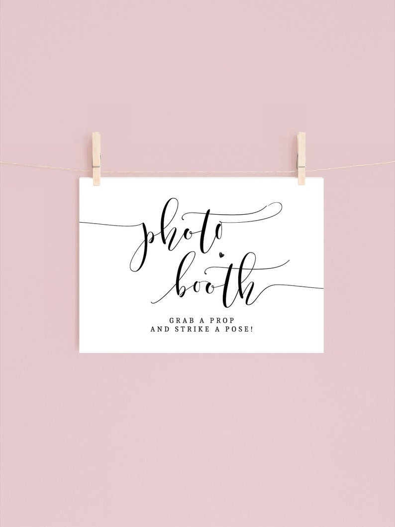 high resolution | pdf and jpg 5x7 /& 8x10 digital download non-editable wedding PHOTO BOOTH signs grab a prop and strike a pose