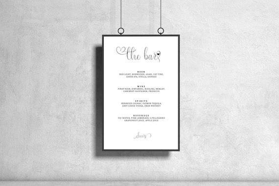 "THE BAR MENU wedding signs (8.5""x11"") partially editable downloads"