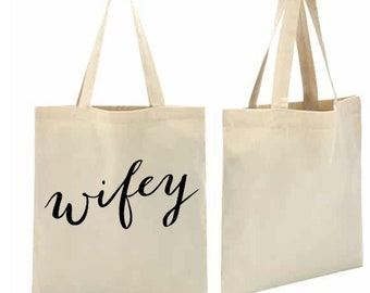 Bride script wife wifey Shopping canvas tote bag shoulder Retro Hipster Fashion Fun Slogan Art Hoe 90s Kawaii Aesthetic Grunge Vintage Kpop