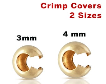 3mm Gold Crimp Covers 50 PCS 14K Gold Filled 3mm Crimp Bead Covers