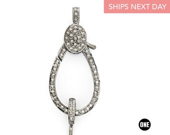 Beautiful designer Rosecut pave diamond lobster design clasps 925 sterling silver handmade finish clasps with matching jump ring