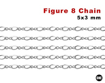 Bright Silver Tone Curb Chain 5x3.5mm Links Iron Base Metal Unfinished Open Links 10ft