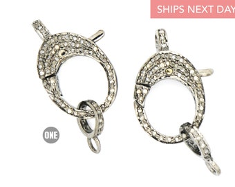 Lobster clasp Rosecut pave diamond antique design spring clasps 925 sterling silver handmade finish diamond clasps jewelry supplies