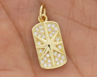 CCH-386 Gold  CZ Charm for Necklace Micro Pave CZ Moon Celestial charm Earring and Bracelet