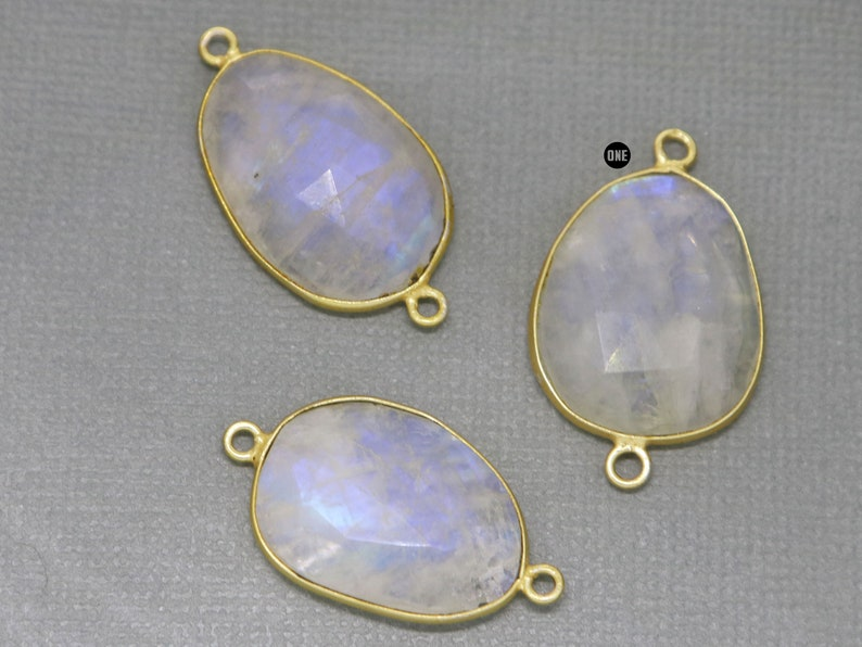 22-24 mm, Gold Plated Rainbow Moonstone Faceted Oval Bezel Connector 2037-BZ