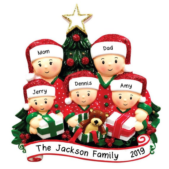 Personalized Christmas Tree Ornaments Family of 5 Bears Holiday Gift Ornament