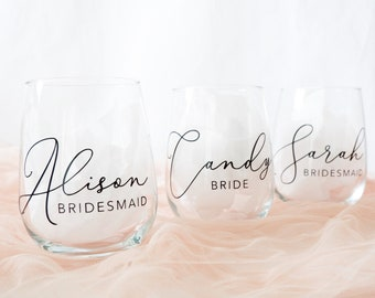 Personalized Wine Glass, Stemless Wine Glass, Gifts for Bridesmaid, Bridesmaid Gifts, Bridal Party Gift, Bridesmaid Proposal Gifts, Will you