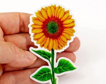 Sunflower Sticker Decal, Original Art Sticker Happy Sunflower on White Vinyl Decal, Gift for Flower Lovers