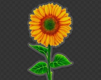 Sunflower Sticker Decal, Original Art Sticker Happy Sunflower on *Clear Vinyl* Decal, Gift for Flower Lovers