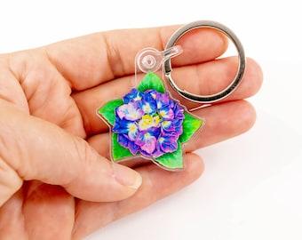 "Hydrangea Flower Keychain Zipper Pull Charm Keyring, Original Art Purple Hydrangea Gift for Flower Lovers, 1.5"" x 1.45"" Acrylic Charm"