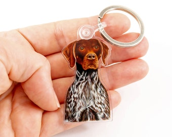 """German Shorthaired Pointer Keychain, GSP Zipper Charm Keyring, Original Art GSP Dog Breed, Gift for Dog Lovers, GSP Acrylic Charm 1.18"""" x 2"""""""